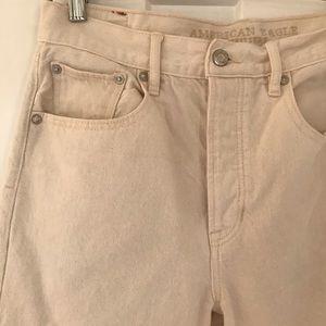 Ecru Straight Leg Cotton Jeans High Waist Size 8